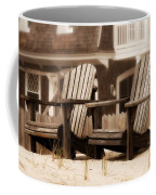 Adirondack Chairs On The Beach - Jersey Shore Coffee Mug by Angie Tirado