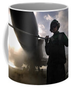 Airman Holds Up The Safety Shot Line Coffee Mug by Stocktrek Images