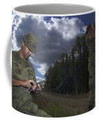 Airmen Use A Range Finder And Gps Unit Coffee Mug by Stocktrek Images