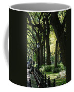Benches Trees And Lamps Coffee Mug by Rob Hans