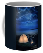 Camping Tent By The Lake At Night Coffee Mug by Jill Battaglia