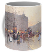 Figures In The Place De La Bastille Coffee Mug by Eugene Galien-Laloue