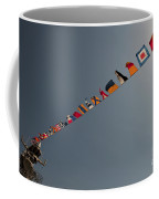 Flags Fly Over The Deck Of The Uss Iwo Coffee Mug by Stocktrek Images