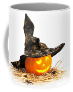 Halloween Pumpkin With Witches Hat Coffee Mug by Amanda Elwell