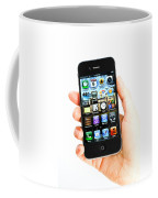 Hand Holding An Iphone Coffee Mug by Photo Researchers