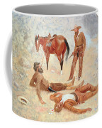 He Lay Where He Had Been Jerked Still As A Log  Coffee Mug by Frederic Remington