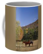 Horses And Autumn Landscape Coffee Mug by Kathy Clark