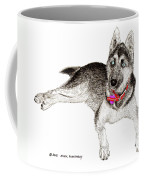 Husky With Blue Eyes And Red Collar Coffee Mug by Jack Pumphrey