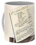 Invoice Of A Sale Of Black Slaves Coffee Mug by Photo Researchers
