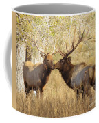 Junior Meets Bull Elk Coffee Mug by Robert Frederick