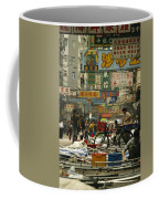 Kowloon Street With Workers Setting Coffee Mug by Justin Guariglia