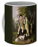 Portrait Of A Sportsman With His Son Coffee Mug by Francis Wheatley