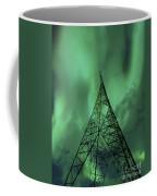Powerlines And Aurora Borealis Coffee Mug by Arild Heitmann