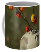 Pumpkin On A Stick In An Old Primitive Moonshine Jug Coffee Mug by Kathy Clark