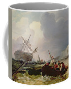 Rowing Boat Going To The Aid Of A Man-o'-war In A Storm Coffee Mug by George Chambers