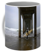 Scripps Pier Surfer Coffee Mug by Bob Christopher