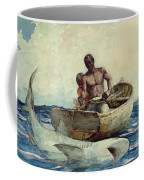 Shark Fishing Coffee Mug by Winslow Homer