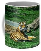 Tiger - Endangered - Lying Down - Tongue Out Coffee Mug by Paul Ward