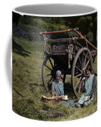 Two Girls Eat Lunch In A Hayfield Coffee Mug by Clifton R. Adams
