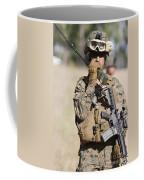 U.s. Marine Radios His Units Movements Coffee Mug by Stocktrek Images