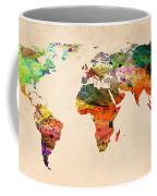 Watercolor World Map  Coffee Mug by Mark Ashkenazi
