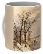 Winter Landscape With Faggot Gatherers Conversing On A Frozen Lake Coffee Mug by Josephus Gerardus Hans