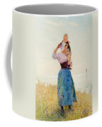 Woman And Child In A Meadow Coffee Mug by Hector Caffieri