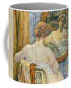 Woman In A Mirror Coffee Mug by Theo van Rysselberghe