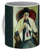 Woman Sewing Coffee Mug by August Macke