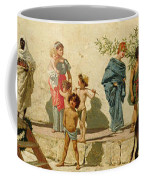 A Roman Street Scene With Musicians And A Performing Monkey Coffee Mug by Modesto Faustini