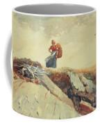 Down The Cliff Coffee Mug by Winslow Homer