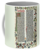 Page Of The Gutenberg Bible, 1455 Coffee Mug by Photo Researchers