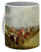 A Steeplechase - Taking A Hedge And Ditch  Coffee Mug by Henry Thomas Alken
