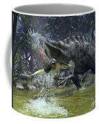 A Suchomimus Snags A Shark From A Lush Coffee Mug by Walter Myers