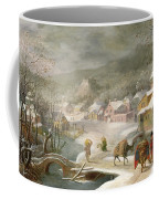 A Winter Landscape With Travellers On A Path Coffee Mug by Denys van Alsloot