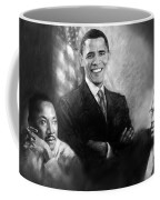 Barack Obama Martin Luther King Jr And Malcolm X Coffee Mug by Ylli Haruni