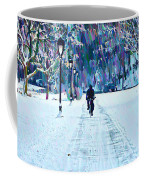 Bike Riding In The Snow Coffee Mug by Bill Cannon