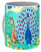 Bird People Peacock King And Peahen Coffee Mug by Sushila Burgess