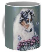 Blue Merle Collie Pup Coffee Mug by Lee Ann Shepard