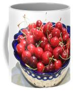 Cherries In Blue Bowl Coffee Mug by Carol Groenen