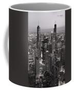 Chicago Loop Sundown B And W Coffee Mug by Steve Gadomski