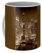 Chicago River City View B And W Coffee Mug by Steve gadomski