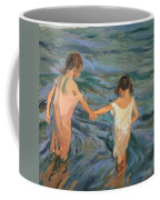 Children In The Sea Coffee Mug by Joaquin Sorolla y Bastida