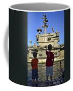 Children Wave As Uss Ronald Reagan Coffee Mug by Stocktrek Images