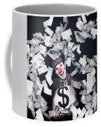 Crazy Clown Excited To Hold A Bag Of Money Coffee Mug by Jorgo Photography - Wall Art Gallery