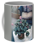 Cyclamen And Wicker Coffee Mug by Michelle Calkins
