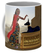 Egyptian Woman And Anubis Statue Coffee Mug by Corey Ford