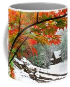 Fire Fog And Snowy Fence Coffee Mug by Debra and Dave Vanderlaan