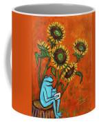 Frog I Padding Amongst Sunflowers Coffee Mug by Xueling Zou