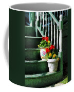 Geraniums And Pansies On Steps Coffee Mug by Susan Savad